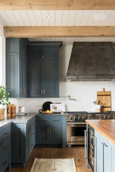 SM Ranch House: The Kitchen Studio mcgee Blue cabinet with gray counter Studio Mcgee, Easy Home Decor, Cheap Home Decor, Home Design, Layout Design, Design Ideas, Design Trends, Ikea, Blue Cabinets