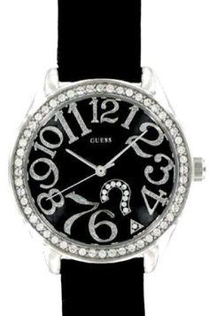 New Guess G76030L Black Croc Leather Crystal Collection Women's Watch GUESS. $75.00. Fun and funky numbers modernize the classic style of this GUESS watch. Croc-embossed black leather strap with mixed metal case. Swarovski crystal-accented bezel.. Black dial with stylized numerals, logo and two hands. Quartz movement.