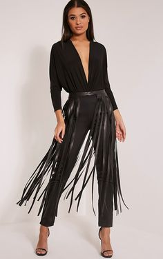 Black Faux Leather Extreme Fringe Belt Be a bohemian queen this season with this statement fring...