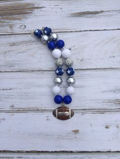 Dallas Cowboys Inspired Football Bubblegum Necklace - Photography Prop - Texas - Gameday - Chunky Necklace - Stars - Silver and Blue on Etsy, $17.95