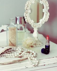 Pearls and vintage mirror
