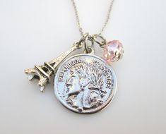 Eiffel Tower and French Coin Charm Necklace by luckysparks on Etsy, $8.99