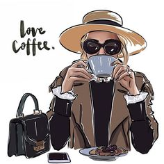 Coffee art, coffee illustration и fashion sketches. I Love Coffee, Coffee Art, My Coffee, Coffee Today, Happy Coffee, Coffee Illustration, Illustration Art, Illustration Fashion, Fashion Illustrations