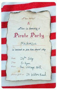 Free printable Pirate party invite.