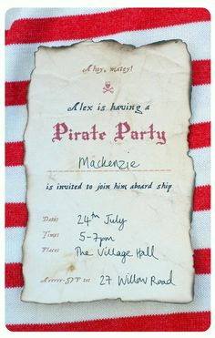 Free printable Pirate party invite.