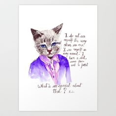 Fashion Mr. Cat Karl Lagerfeld and Chanel Art Print by Smog - $16.00