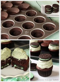 These were excellent! I didn't add the mint extract or the food coloring because I didn't think they were necessary. I also added a few extra chopped up Oreos in the frosting to make it even more Oreo-minty. These were easy to make, and we're a big hit (especially when people realized there was an Oreo in the bottom! (chocolate mint Oreo cupcakes)