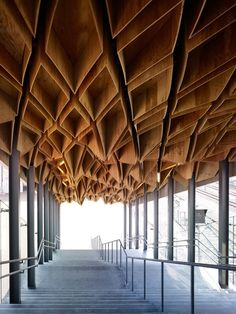 Hoshakuji Station, plywood ceiling 3D pattern. Kengo Kuma    Material Immaterial: The New Work of Kengo Kuma