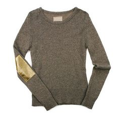Cashmere with metallic elbow patches-love!