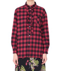 RED Valentino fall/winter 2015 black and red check long sleeved flannel shirt with frills. Classic collar, longer on the back. Buttoned cuffs. Composition: 100% cotton.