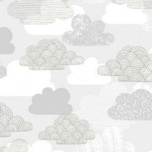 Arriving May 29 - First Light - Passing Clouds Fabric - Gray - Designer Fabric - Cloud 9 Organic Fabric Collections Fabric Patterns, Print Patterns, Sewing Patterns, Nausicaa, Cover Boy, Boppy Cover, Fabric Remnants, Cloud 9, Cotton Lights