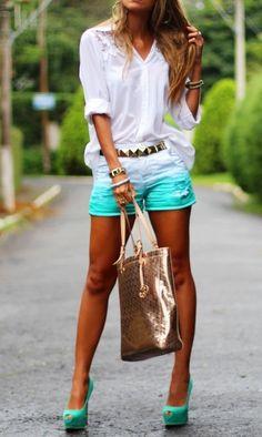 Adorable cute summer dress mint short and white long sleeve shirt with golden bracelet and belt
