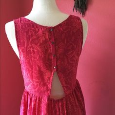 Urban Outfitters Smock Dress Red loose floral dress with button up cut-out back. Like new Dresses Midi