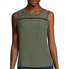 jcp | a.n.a® Fringe Studded Tank Top- Petite