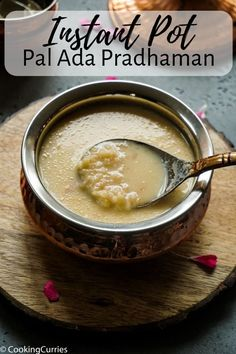 Get the signature pink color for Pal Ada Pradhaman and the perfect consistency, by making it quick and easy in the Instant Pot, where you can just set it Best Dessert Recipes, Sweet Recipes, Delicious Desserts, Delicious Dishes, Yummy Food, Amazing Recipes, Indian Desserts, Indian Food Recipes, Diwali Recipes