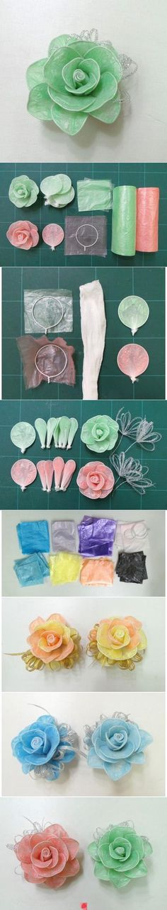 DIY Roses, made with wire & coloured plastic.
