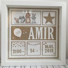 Baby Cards After a long, long break, I& call me again. Time is racing again . Collage Frames, Box Frames, Diy Craft Projects, Diy And Crafts, Stampin Up, Ideas Habitaciones, Baby Frame, Birth Gift, Frame Crafts