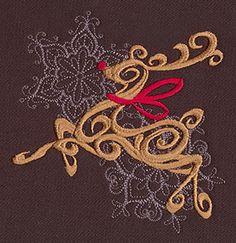 """Baroque Noel - Reindeer"" Craft a glamorous Christmas with this beautiful, swirling reindeer design! - UT7132 (Machine Embroidery) 00572034-112013-0830-6"