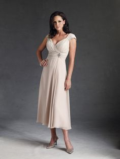 New Style DM045 Cap Sleeves A line Lace Top Chiffon Tea Length Champagne Mother of Bride Dress on AliExpress.com. 5% off $129.20