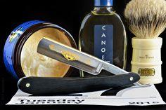 "Al's shaving cream, Dovo Prima 5/8"" straight razor, Simpson Milk Churn badger brush, Canoe cologne, January 27, 2015"