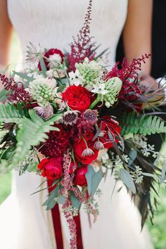 Merci Beaucoup Floral Design - bouquet of burgundy, red and white flowers