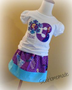 Frozen Snowflake Birthday Skirt Set Frozen by soohomemade on Etsy Frozen Birthday Outfit, Frozen Birthday Party, Frozen Party, Girl Birthday, Birthday Ideas, Frozen Fabric, Frozen Snowflake, Learn To Sew, How To Make