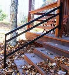 Blacksmith Made Wrought Iron Hand Rail by Anthony De Caro/Owner Wrought Iron Porch Railings, Porch Handrails, Exterior Stair Railing, Staircase Railings, Banisters, Step Railing Outdoor, Outdoor Stair Railing, Railing Ideas, Railing Design