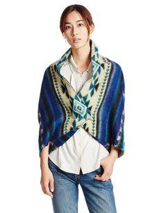 (ミルクフェド)MILKFED. NATIVE CAPE PONCHO 03153507 BLUE ONE SIZE : 服&ファッション小物通販 | Amazon.co.jp
