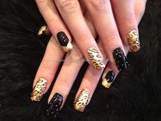 Freehand nail art with gold leaf