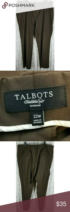 """Talbots brown Casual Pants Sz 22W Ex Cond Nice pants in good condition. Waist: 46-48""""  Ins: 31"""" 63% poly,  32%viscose, 3%spandex #FE Talbots Pants"""