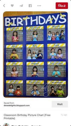 Education/Kindergarten/Preschool Classroom Birthday Picture Chart Free Printable How To Choose The R Classroom Organisation, Classroom Displays, Primary School Displays, Daycare Organization, Beginning Of School, Back To School, Art School, Middle School, High School