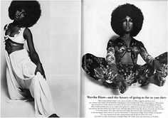 Marsha Hunt photographed by Peccinotti for 1968 December issue of British Vogue.