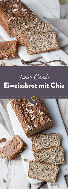 Low carb protein bread with chia seeds - back with less carbon .- Low carb and bread do not have to be a contradiction. Swap wheat flour for flaxseed flour, quark and chia and get your low carbohydrate casserole yourself. Protein Bread, Low Carb Protein, Low Carb Bread, Protein Foods, Low Carb Recipes, Baking Recipes, Drink Recipes, Bread Recipes, Healthy Recipes