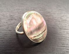 Black Mother of Pearl Oval Ring by GildedBug on Etsy, $35.00