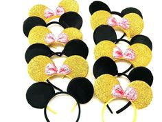 12 Mickey Minnie Mouse Ears Black and Gold Pink Bow Minnie Headband Boys Girls Minnie Mouse Balloons, Minnie Mouse 1st Birthday, Mickey Mouse Clubhouse Birthday, Minnie Mouse Pink, Pink Birthday, Birthday Favors, Party Favors, Diy Disney Ears, Mickey Mouse Ears Headband