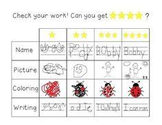 Kindergarten Kid Writing Rubric
