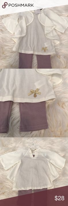 Tahari Baby Legging Set Tahari Baby Legging Set.  Off White top with gold accents and purple leggings. Tahari Matching Sets