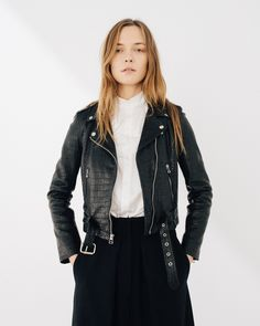 laer laser cut croc leather Shrunken moto jacket