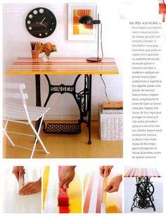 Mesa con pie de maquina de coser