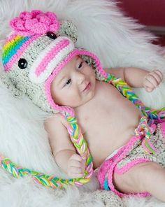 No Pattern. Crocheted Girl Monkey Hat.