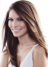 Long hair style with layers and wavies, side-part bangs, straight hair style -cut hair long very woman