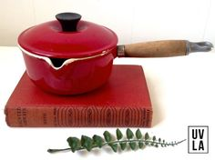 Vintage 1970s Red Le Creuset Pan Number 14 Made in France Wooden Handle Cookware