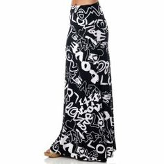 Long SKIRT! Printed Maxi Length A-line skirt with rollover waist. Fun skirt, long and very fitted. #Skirts