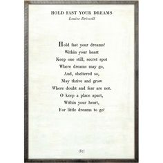 Hold Fast Your Dreams - Poetry Collection - Sugarboo and Co - White - Grey Wood Frame