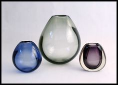 Vintage Holmegaard hand blown coloured glass vases from Freeforms USA