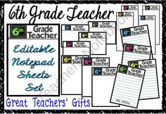 """""""6th Grade Teacher"""" Notepad Sheets Set Editable from A Teacher in Paradise on TeachersNotebook.com (8 pages)  - These will make perfect end of year gifts for your colleagues or a welcome gift for a new teacher."""