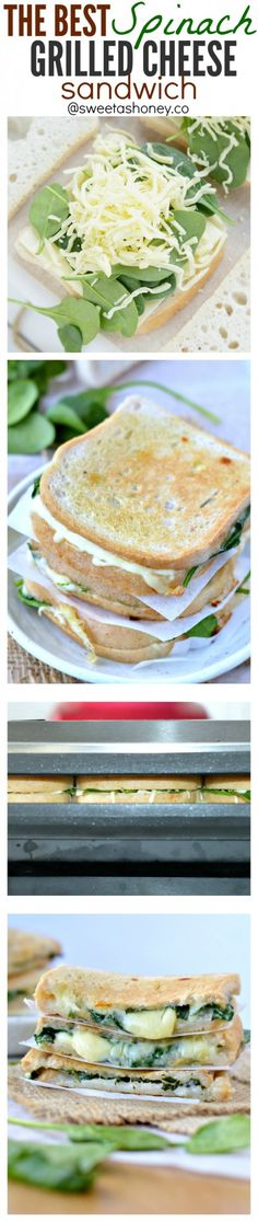 The best grilled cheese sandwich you will ever had made a bit healthier with spinach ! Check out my secret triple cheese combo to create THE MOST gooey spinach grilled cheese sandwich EVER with crispy grilled bread. Best comfort food on earth! Healthy Desayunos, Healthy Snacks, Healthy Eating, Lunch Recipes, Vegetarian Recipes, Cooking Recipes, Healthy Recipes, Grilling Recipes, Best Grilled Cheese