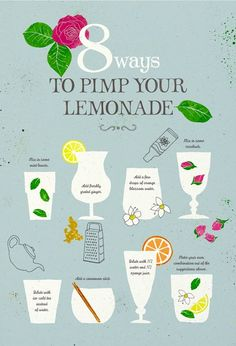 Pimp your lemonade: Mix in some mint leaves, Add freshly grated ginger, Add a few drops of orange blossom water, Mix in some rosebuds, Dilute with ice cold tea instead of water, Add a cinnamon stick, Dilute with 1/2 water and 1/2 orange juice