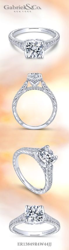 Gabriel & Co.-Voted #1 Most Preferred Fine Jewelry and Bridal Brand. Vintage 14k White Gold Round Straight Engagement Ring