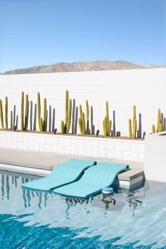 Mid-century architecture Palm Springs: Let's fall in love with the most dazzling mid-century architecture projects in Palm Springs, California Style Palm Springs, Palm Springs Häuser, Palm Springs California, Modern Landscaping, Pool Landscaping, Mid Century Landscaping, Landscaping Software, Modern Pools, Mid-century Modern